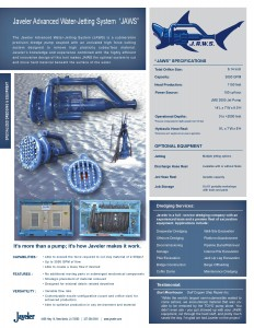 Experienced Dredging Services Javeler JAWS Spec Sheet